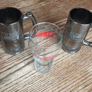 Bundle of 3 Coca Cola glasses mugs